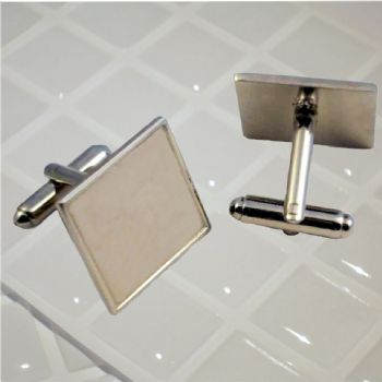 Cufflink Pair Square 18mm silver and clear dome